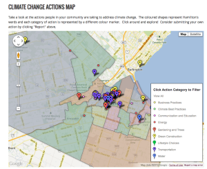 Screenshot of the Climate Change Actions Map.