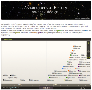 Screenshot of Timeline page of website.