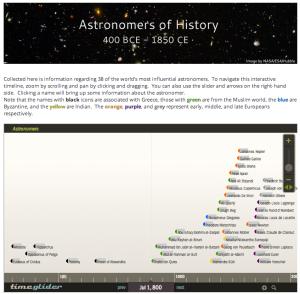 Screenshot of Timeline page of website.