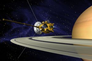 It might have looked kind of like this, but with Jupiter instead of Saturn in the background.  Cassini's main mission was to Saturn and its moons.