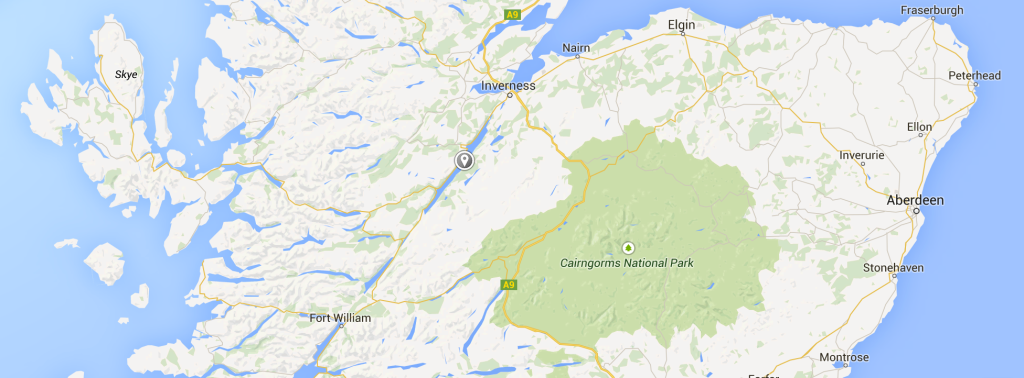 Loch Ness, in all of its Google Map glory.  Not pictured: the monster.