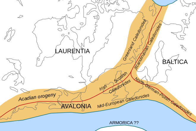 As the plates collided, the highlighted area became raised.  The grey lines in this image are the current coastlines.  Image by Woudloper.