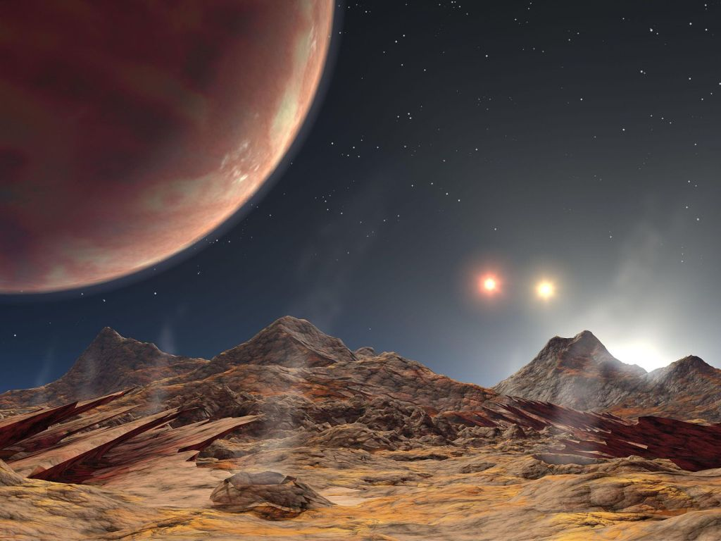 An artist's impresison of a view from an exomoon with a triple star system.  Far out, dude.  Image by NASA/JPL-Caltech