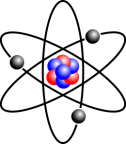 A cartoon of an atom with electrons in black, neutrons in blue, and protons in red.